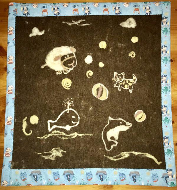 Manta bebé: lana afieltrada y vellón fieltro pinchado para los dibujitos